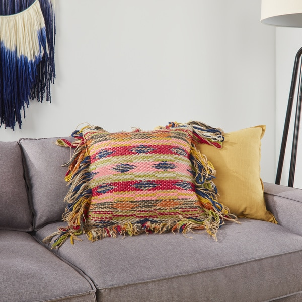 Woven Bohemian Fringe Multi Down Feather or Polyester Filled 18-inch Throw Pillow or Pillow Cover