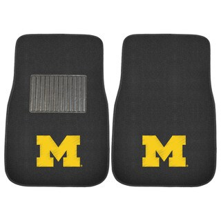 """Fanmats Michigan Wolverines 18""""-27"""" 2-piece Embroidered Car Mat Set"""