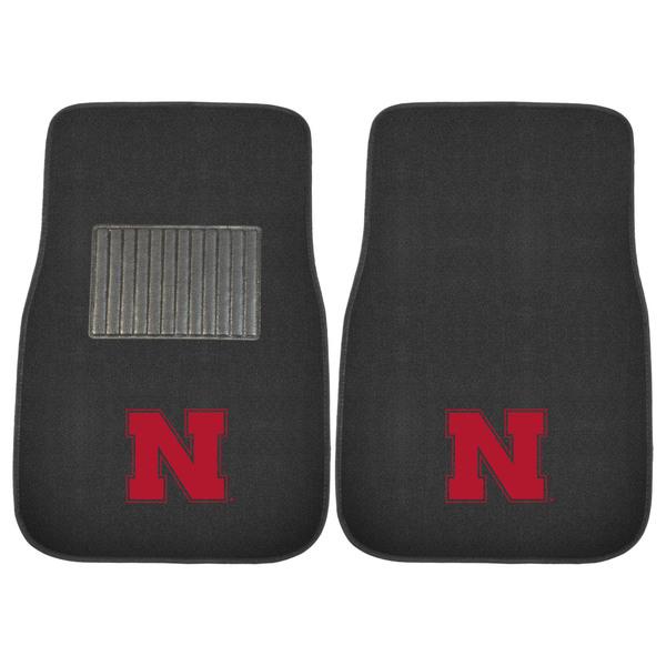 """Fanmats Nebraska Cornhuskers 18""""-27"""" 2-piece Embroidered Car Mat Set"""