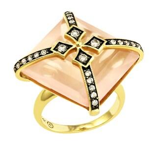 Beverly Hills Charm 14K Yellow Gold 33ct. Rose Quartz and 1/3ct TDW Diamond Ring (H-I, SI2-I1)