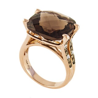 Beverly Hills Charm 14K Rose Gold Smokey Quartz and 1/3ct TDW brown and White Diamond Ring (H-I, SI2-I1)