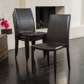 Christopher Knight Home Comstock Bonded Leather Stackable Dining Chair (Set of 4)