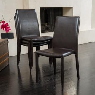 Comstock Bonded Leather Stackable Dining Chair Set Of 4 By Christopher Knight Home