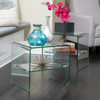 Ramona Transparent Glass End Table With Shelf (Set Of 2) By Christopher  Knight Home