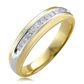 Montebello Men's 14k Two-tone Gold 1/2ct TDW Princess-cut White Diamond Wedding Band (H-I, I1-I2)