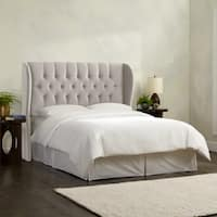 Skyline Furniture Tufted Wingback Headboard in Velvet Light Grey