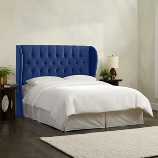 Skyline Furniture Tufted Wingback Headboard in Velvet Navy