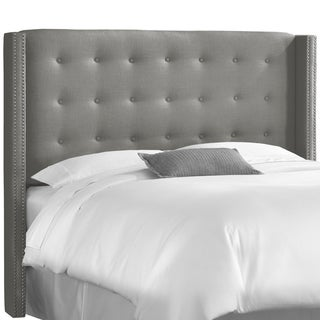 Skyline Furniture Nail Button Tufted Wingback Headboard in Linen Grey