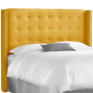 Skyline Furniture Nail Button Tufted Wingback Headboard in Linen French Yellow