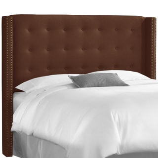 Skyline Furniture Nail Button Tufted Wingback Headboard in Linen Chocolate