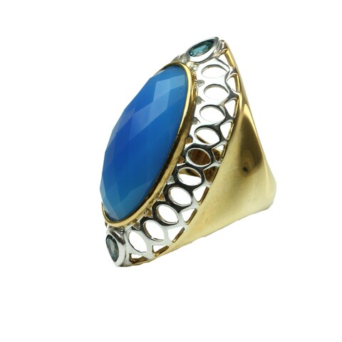 One-of-a-kind Michael Valitutti Blue Chalcedony & London Blue Topaz Ring