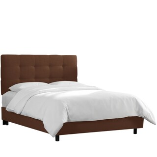 Skyline Furniture Tufted Bed in Linen Chocolate
