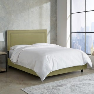 Skyline Furniture Nail Button Border Bed in Premier Sage