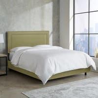 Skyline Furniture Nail Button Border Bed in Premier Sage