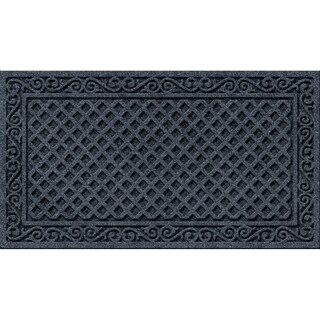 Textured Iron Lattice Design Charcoal Grey Door Mat