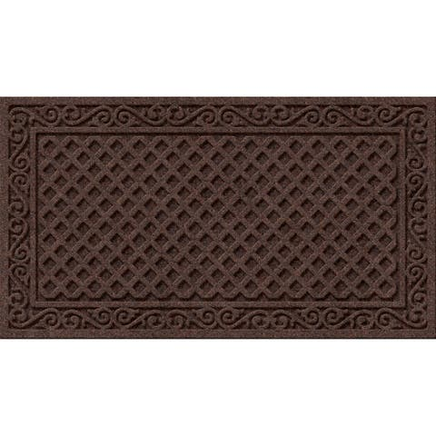 Textured Iron Lattice Walnut Door Mat