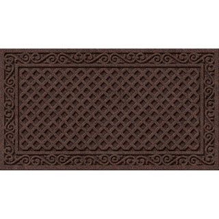 Textured Lattice Walnut Iron Rubber Synthetic Door Mat