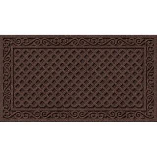Textured Iron Lattice Walnut Door Mat