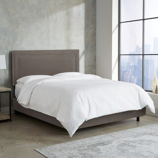 Skyline Furniture Nail Button Border Bed in Premier Charcoal