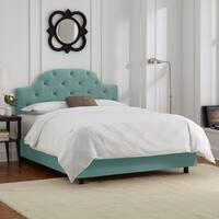 Skyline Furniture Tufted Bed in Velvet Caribbean