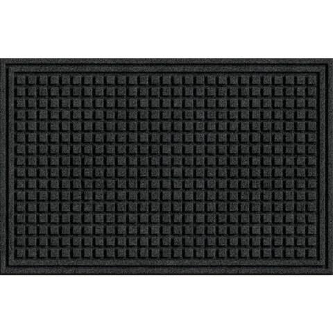 Textured Squares Onyx Rubber Door Mat
