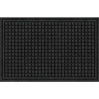 Textured Squares Onyx Rubber Door Mat