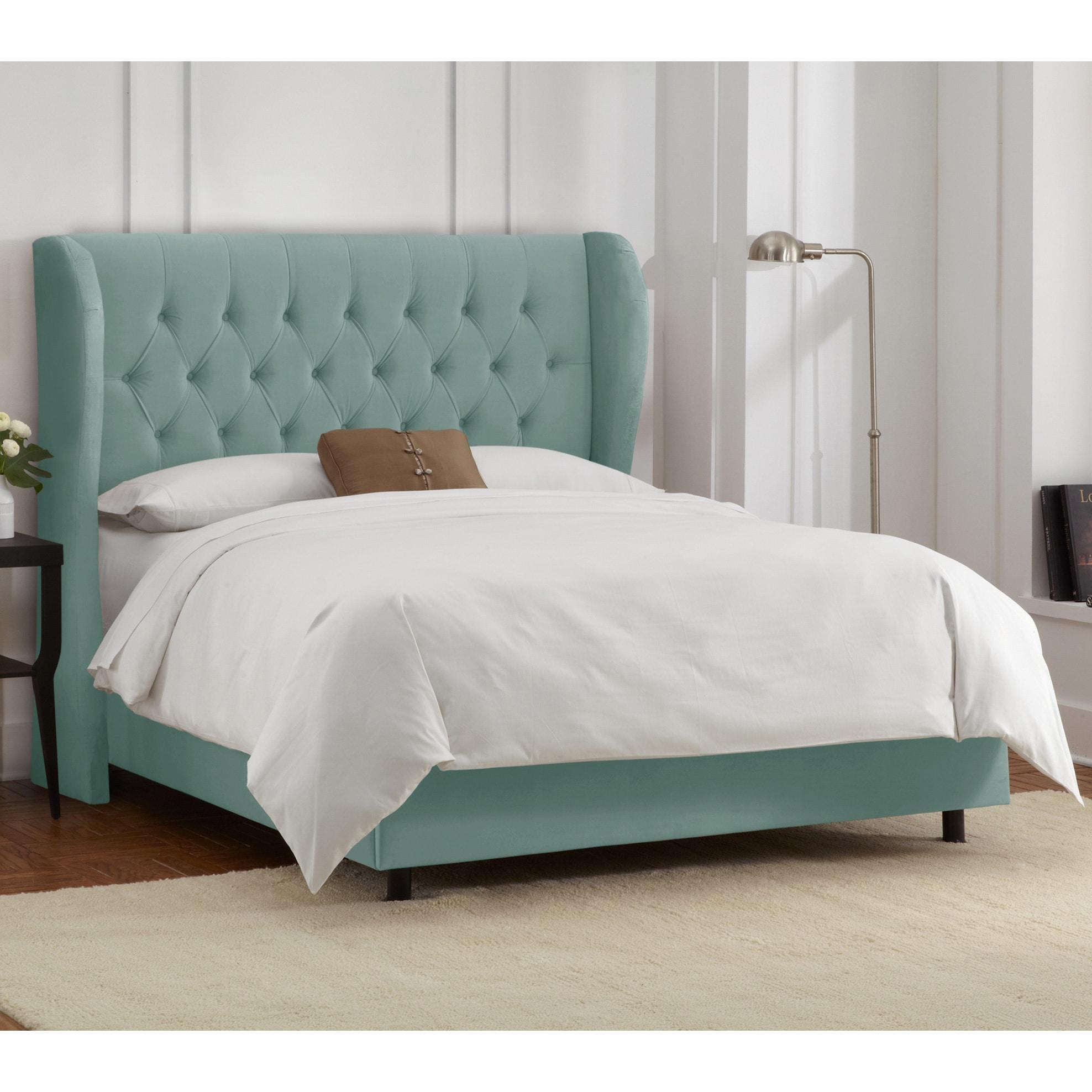 skyline furniture tufted wingback bed in velvet caribbean