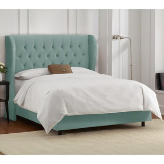 Skyline Furniture Tufted Wingback Bed in Velvet Caribbean
