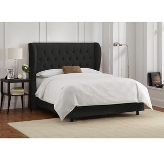 Skyline Furniture Tufted Wingback Bed in Velvet Black