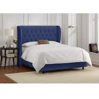 Skyline Furniture Tufted Wingback Bed in Velvet Navy