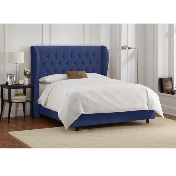 skyline furniture wingback bed | Shop Skyline Furniture Tufted Wingback Bed in Velvet Navy ...