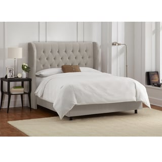 Skyline Furniture Tufted Wingback Bed in Velvet Light Grey