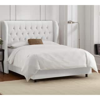 Skyline Furniture Tufted Wingback Bed in Velvet White|https://ak1.ostkcdn.com/images/products/10669992/P17734714.jpg?impolicy=medium