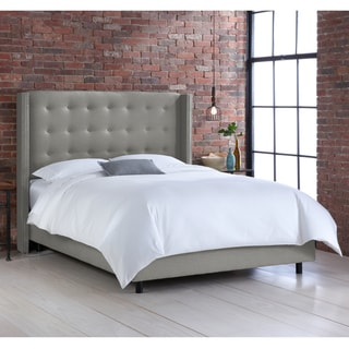 Skyline Furniture Nail Button Tufted Wingback Bed in Linen Grey