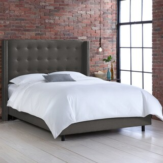 Nail Button Tufted Wingback Bed in Linen Charcoal- Skyline Furniture