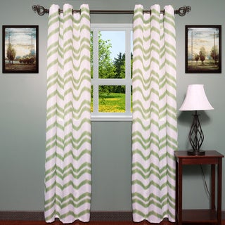 Jacquard Chevron Pattern Grommet Curtain Panel (Set of 2)