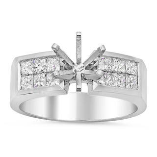 14k White Gold 4/5ct TDW Diamond 2-row Invisible-set Semi-Mount Ring (E-F, VS1-VS2)