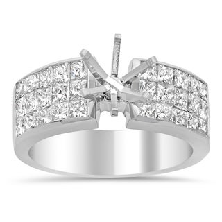 Artistry Collections 18k White Gold 1 3/4ct TDW Diamond 3-row Invisible-set Semi-mount Ring (H-I, VS1-VS2)