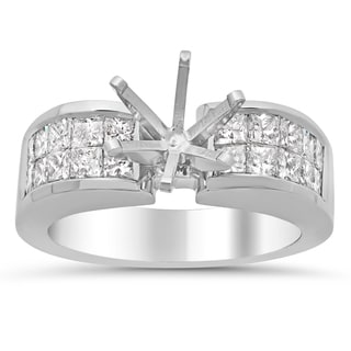 18k White Gold 1 1/3ct TDW Diamond 2-row Invisible-set Semi-Mount Ring (E-F, VS1-VS2)