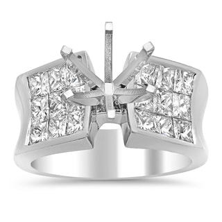18k White Gold 2 1/2ct TDW Diamond 3-row Invisible-set Semi-Mount Ring (E-F, VS1-VS2)