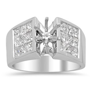 18k White Gold 2ct TDW Diamond 3-row Invisible-set Semi-Mount Ring (E-F, VS1-VS2)