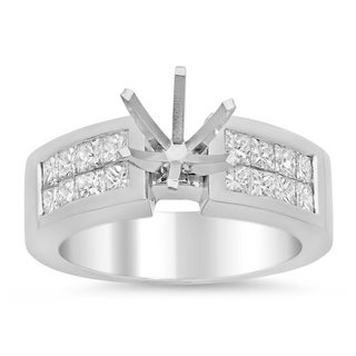 14k White Gold 1ct TDW Diamond 2-row Invisible-set Semi-mount Ring (E-F, VS1-VS2)