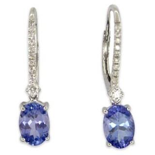 Kabella 14K White Gold Oval Tanzanite and Diamonds Leverback Dangling Earring