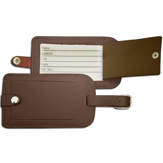 Chocolate Brown Leather Luggage Tag