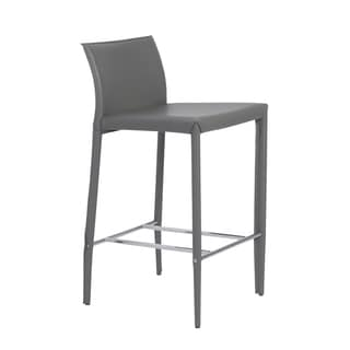 Shen-c Grey/ Chrome Counter Stools (Set of 2)