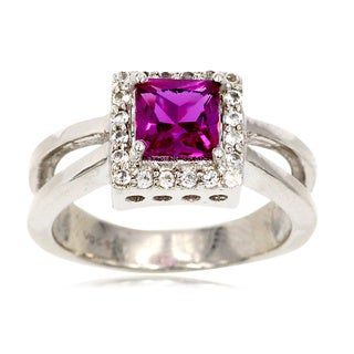 Sterling Silver Princess-cut Purple Sapphire and White Topaz Halo Ring