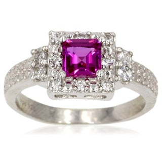Sterling Silver Purple Halo Sapphire Ring
