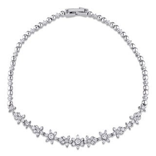 Miadora Signature Collection 18k White Gold 3/4ct TDW Diamond Vintage Floral Bracelet (G-H, I1-I2)