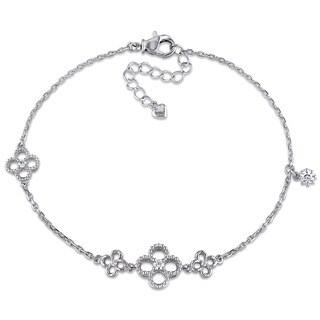 Miadora 18k White Gold 1/5ct TDW Diamond Flower Bracelet (G-H, I1-I2)