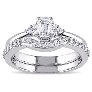 Miadora Signature Collection 14k White Gold 3/4ct TDW Emerald-cut Diamond Bridal Set (G-H, I1-I2)